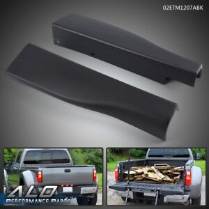 For 10 16 Ford F250 F350 L R Side Flex Step Tailgate Moldings Trim Caps Black