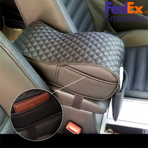Black Pu Leather Car Armrest Cushion Console Box Cover Pad Pouch Bag Universal