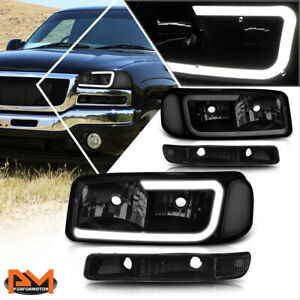 For 99 07 Gmc Sierrayukon Xl Led Drl Headlight With Bumper Lamp Tintedclear 4pcs Fits More Than One Vehicle