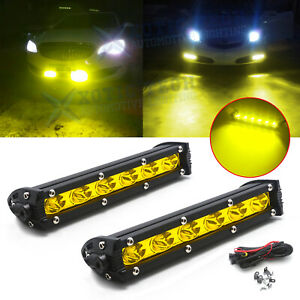 18w Yellow Led Daytime Running Light Lamp Kit W Relay Wire Harness For Car Suv