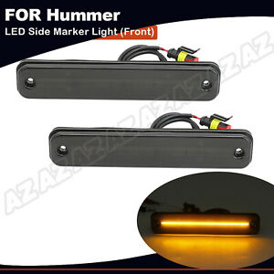 2x Smoked Led Fender Side Marker Light Front Amber Fit For 2003 2009 Hummer H2