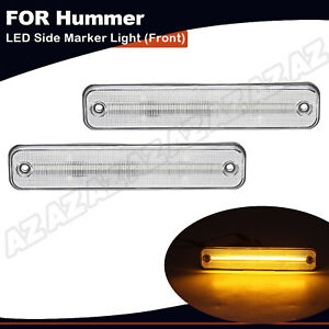 2x Led Side Marker Light Front Amber Fender Lamps For 2003 2009 Hummer H2 Clear