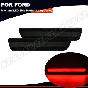 2pcs Led Side Marker Lamp Red Rear Light For 2005 2009 Ford Mustang Smoke Lens