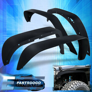 4x Fender Flares Flat Steel Front Rear For 07 17 Jeep Wrangler Jk 2 4 Doors