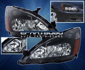 For 03 07 Accord Replacement Head Light Lamps Assembly Left Right Black Amber