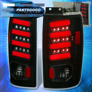 For 1997 2002 Ford Expedition Clear Len Red Tube Led Black Tail Light Lamps Set