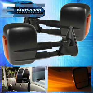 For 03 06 Silverado Sierra 1500 2500 Power Extendable Heated Led Towing Mirrors