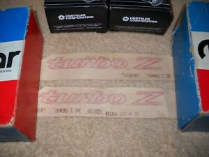 Nos Mopar 1985 1987 Dodge Daytona turbo Z Door Decals red Mint Pair