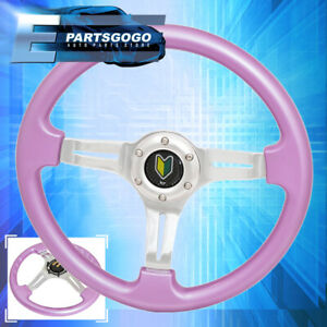 Universal 6 Bolt Hello Kitty Pink Silver Steering Wheel Silver Center Wakaba