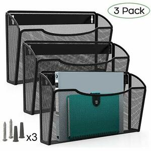 Pro Space 3 pocket Wall Mount File Organizer Office Mesh Collection