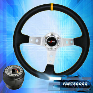 Deep Dish Black Steering Wheel Silver Center Yellow Stitching For 96 15 Civic