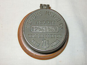 Vintage New York Trident Neptune Water Co Meter Converted Table Trinket Box