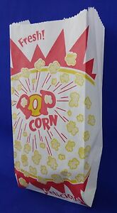 Popcorn 1 Oz Snack Paper Bags 3 5 X 2 X 8 Concession Machine Supplies