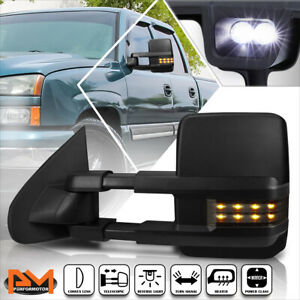 For 03 07 Silverado Sierra Powered Heated Towing Mirror Smoked Led Signal Left