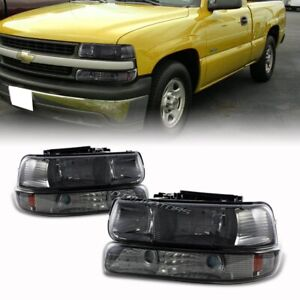 For 2000 2006 Chevy Tahoe Smoke Headlights bumper Amber Reflector Lamps 4 pcs