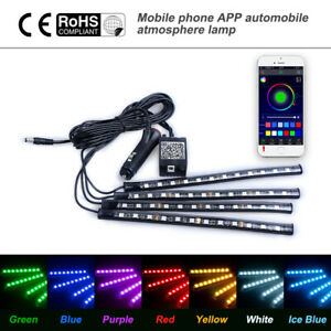 12 Led Phone Control Rgb Car Neon Atmosphere Underglow Interior Light Strip