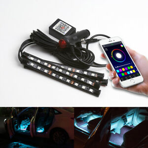 9 Led Phone Control Rgb Car Neon Atmosphere Underglow Interior Light Lamp Strips