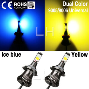 Set Led Light 9005 9006 Bulb Dual Color For Fog Light Car Cob Ice Blue Yellow