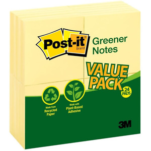 Post it Greener Notes 654rp 24yw 3 In X 3 In 76 Mm X 76 Mm Canary Yellow