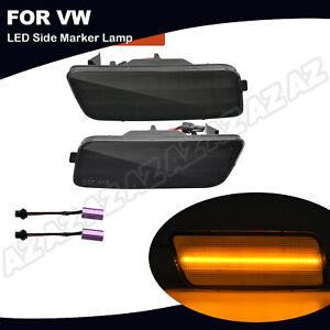 For Vw Mk6 Gti 2010 2014 Front Amber Led Side Marker Light Lamp Smoked Lens 2x