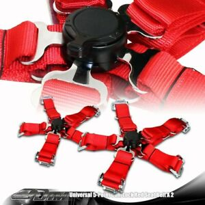 2 X Universal Red Heavy Duty 5 Point Camlock Safety Harness Racing Seat Belt