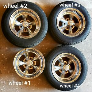 Racing Rocket Wheels 14s Caps Cragars Ss Vintage Old Skool Chevy Ford Vw Dodge