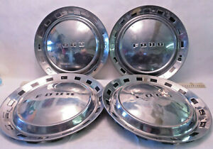 Set Of 4 1950 S Ford Galaxie Thunderbird Fairlane Hubcaps Nice F3