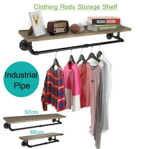 Industrial Pipe Clothes Towel Rack Wood Shelves Shelf Holder Wall mounted
