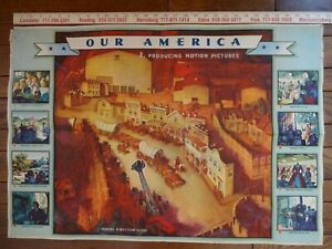 4 1943 COCA COLA OUR AMERICA TEACHERS POSTERS MOTION PICTURES COMPLETE SET 1-4