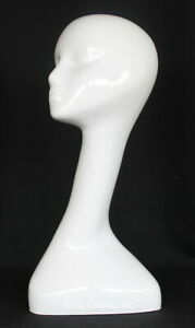 18 In H Female Head Mannequin Bust Form Display Mannequin Glossy White Mh51 gw