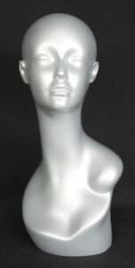 19 In H Matt Silver Color Female Mannequin Head Bust Form Display Mannequin Mh1s