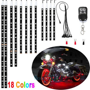 12pcs Motorcycle Led Lights Wireless Remote 18 Color Neon Glow Light Strips Kit