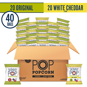 Skinnypop Popped Popcorn Variety original White Cheddar Individual Bags He