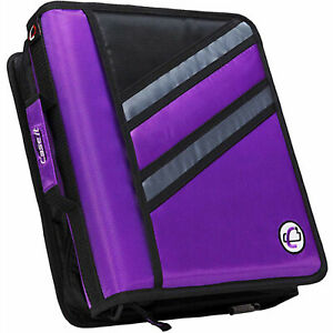 Case it 1 5 Inch Dual z Zipper Binder With 3 Inch Capacity Purple