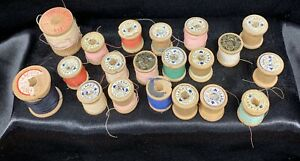 Vintage Wooden Spools Clark S Belding Hemingway J P Coats Lot Of 20