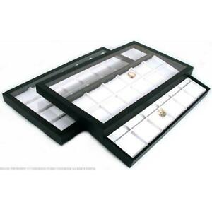 48 Slot White Faux Leather Display Clear Lid Case