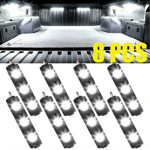 8pcs Waterproof Pickup Truck Bed Light 24 Led Pod Kit Strip White With Switch
