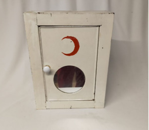 Antique Pharmacy Medicine First Aid Cabinet Vintage White Metal Red Moon Cabinet