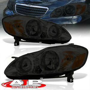 Smoked Amber Jdm Head Lights Lamps Assembly Lh Rh For 2003 2008 Toyota Corolla