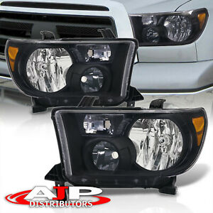Black Amber Headlights Lamps Left Right Pair For 2007 2013 Toyota Tundra Sequoia