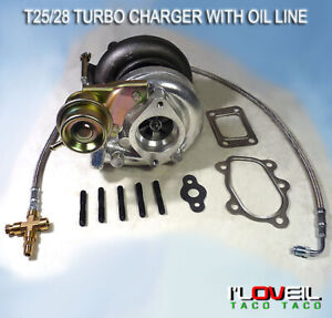 T25 T28 Turbo Charger Compressor Internal Wastegate T25 Oil Feed Line 1 6 2 0l