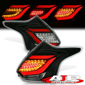 Black Clear Red Led Tube Tail Lights Lamps Pair For 2012 2014 Ford Focus Hatch