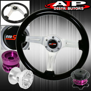 Quick Release For 92 95 Civic Black Wood Deep Dish Steering Wheel Extender