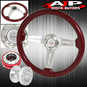 Red Slim Quick Release Hub For 94 01 Integra Red Wood Deep Dish Steering Wheel