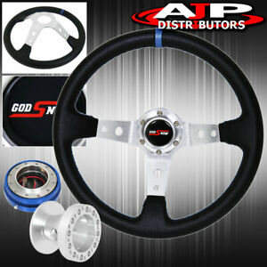 Quick Release For 96 00 Civic Hub Deep Dish Black Steering Wheel Silver Center
