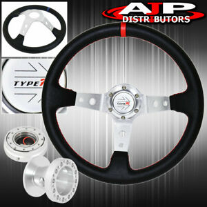 For 86 01 Integra Black Red Stitches Steering Wheel Adapter Release Type R