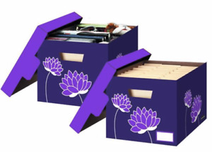 1 Pair 2 Letter legal Bankers Box Cute Decorative File Storage Flowers Purple