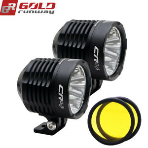 Universal Black Motorcycle Led Driving Spot Auxiliary Lights Round Pair 35w