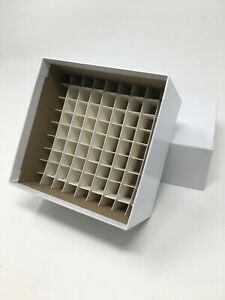 38 New White Cardboard Freezer Box With Divider For 81 Samples Cryo Laboratory