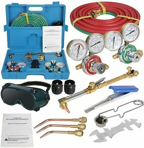 Oxygen Gas Cutting Torch Welding Kit Oxy Brazing Welder Tool Set With Two Hoses